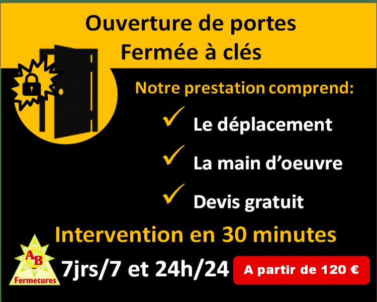 Ouverture de porte serrure 3 points fermée à clés Le Havre dès 120 euros - AB Fermetures serrurier Le Havre
