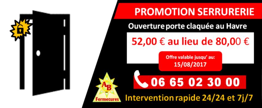 Promotion serrurerie - Ouverture de porte claquée au Havre 52 euros - AB Fermetures