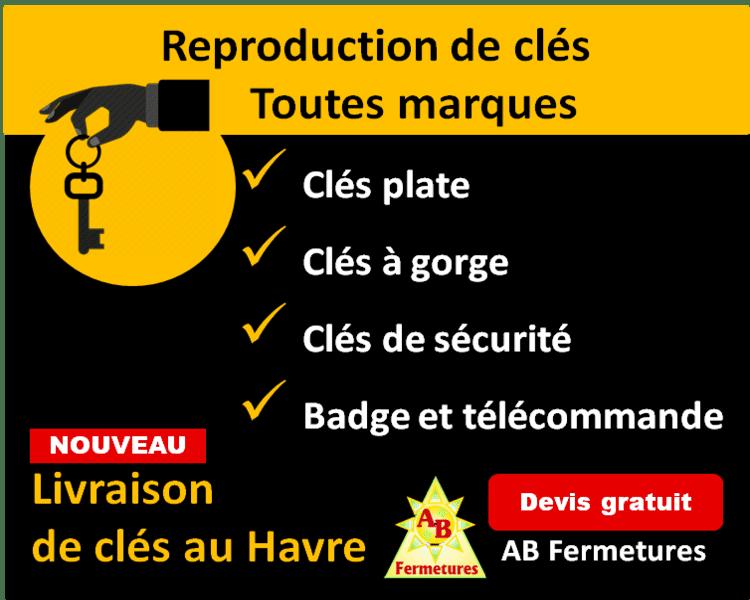 Reproduction de clés le havre à partir de 5,20 euros la clé plate AB Fermetures Le Havre